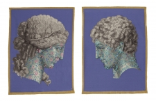 Jon Eric Riis, Neoclassic Male and Female diptych tapestry,