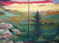 "Sandy Adair, ""Tablerock and Hawksbill at Sunrise"" diptych 2013, 80"" x 64"""