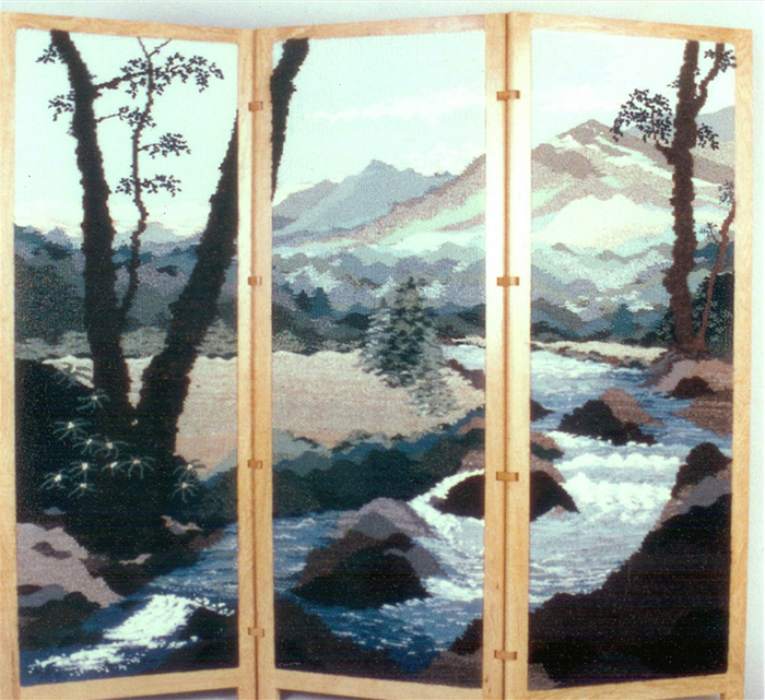 "Sandy Adair, ""North Carolina Arboretum Triptych"" 1999, 60"" x 66"""
