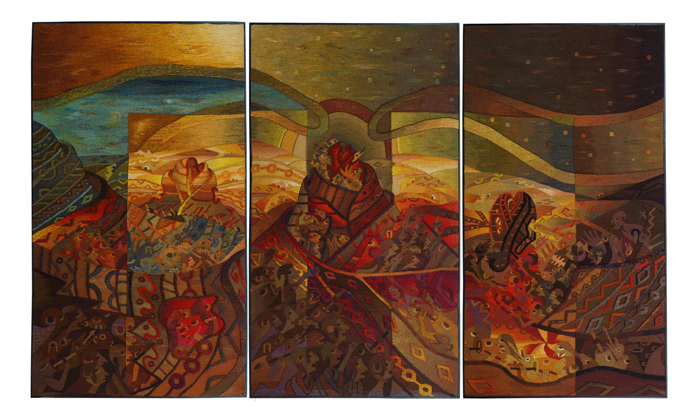 "Maximo Laura, ""Anuncio del timepo de la cosecha"" (Augur of the harvest time), 2001, 81.9"" x 140.4"""