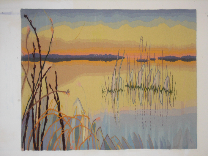 "Inge Norgaard, ""The Hem of the Sky: The Delta"" (first of a triptych), 2010, 34"" x 44"""
