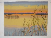 """Inge Norgaard, """"The Hem of the Sky: The Delta"""" (third of a triptych), 2010, 34"""" x 44"""""""
