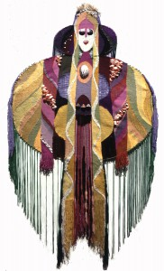 "Muriel Nezhnie, ""Loreli"" 58"" x 47,""1969. Woven tapestry on armature. Private collection Stockbridge MA."