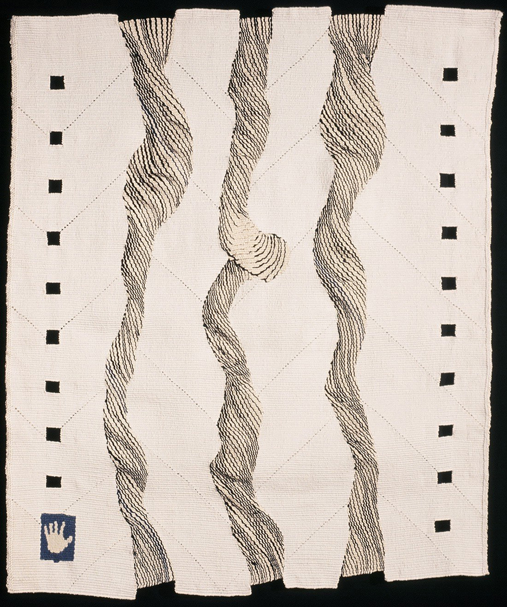 "Alexandra Friedman, ""Flow 1""  32"" x 27"" x 1.5,""Woven tapestry with ""eccentric"" weaving creating a dimensional effect that alludes to twisting skeins of yarn, whereas the background, with its ""lazy lines"" remains flat. Collection of Nelsie Davis, White Salmon, WA.  Photo Credit: Kate Cameron"