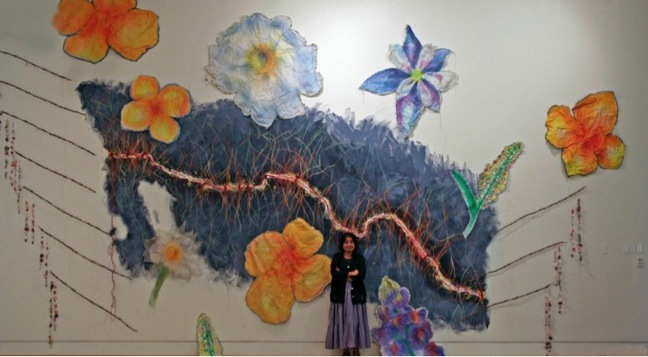 "Consuelo Jiménez Underwood and Betty A. Davis, ""Undocumented Border Flowers"" 2010, Mixed media installation"