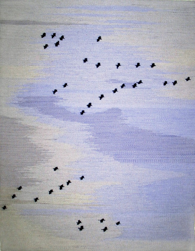 "Evelyn Campbell ""Sandhill Cranes Over Pajarito Acres""  28"" x 22""  2012"