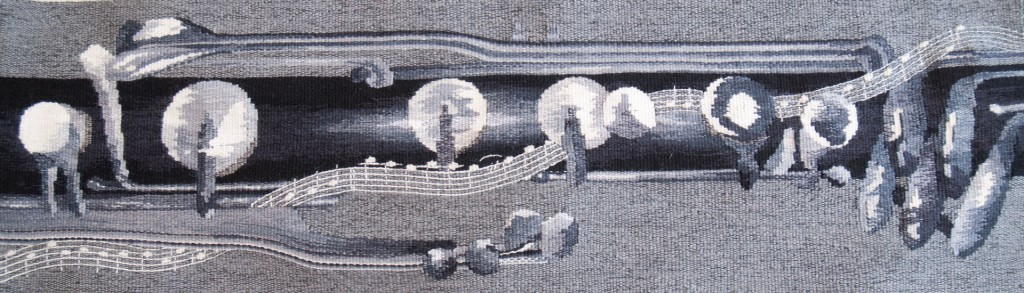 "Margaret Jones, ""Bass Clarinet and musical score""; 2012; 62cm x 24cm; linen, wool and cotton weft on cotton warp"