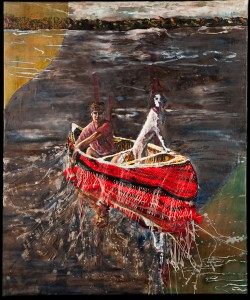 "Sharon Hogg, ""ExKathedra - HighNoon"";  2012; 40"" x 50""; nylon webbing, tapestry, oil, encaustic, and linen on mahogany wood panel"