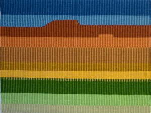 "Elizabeth Shoeman, ""Monument Valley,"" 21 in x 28 in, 6 epi, 2008, photo: E. Shoeman. Cotton warp, wool weft"