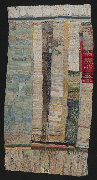 24. Continental Shims, 25½ in x 12½ in, 2013, photo: John Blake. Strip weaving. Natural and synthetic threads, ribbons and velveteen cloth.