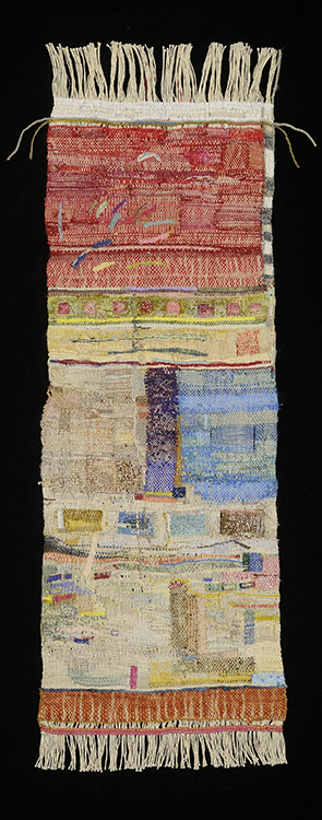 23. Near to Far, 30 in x 10  in, 2011,  photo: John Blake. Natural and synthetic threads, silk ribbon
