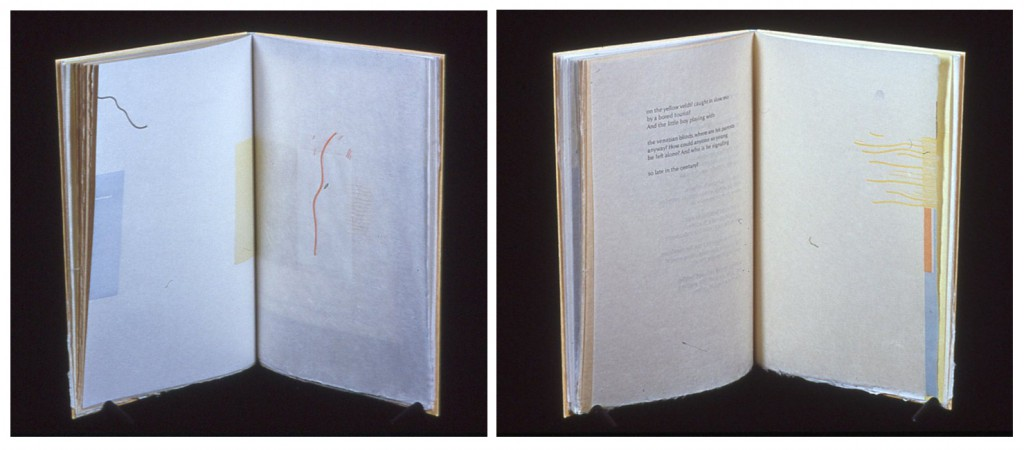 19.- 20. East of Avalon, Poems by James Harms, 11½ in  x 14¾ in ( open), 1998. Design, woodcuts and presswork by Margaret Sunday. Translucent overlays printed on letterpress from the blocks and Optima type on Japanese papers,