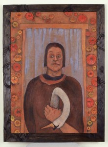 3. Hamlet/ Snow White,  36 in  x 27 in, 1989. Oil on canvas and carved sugar pine frame.