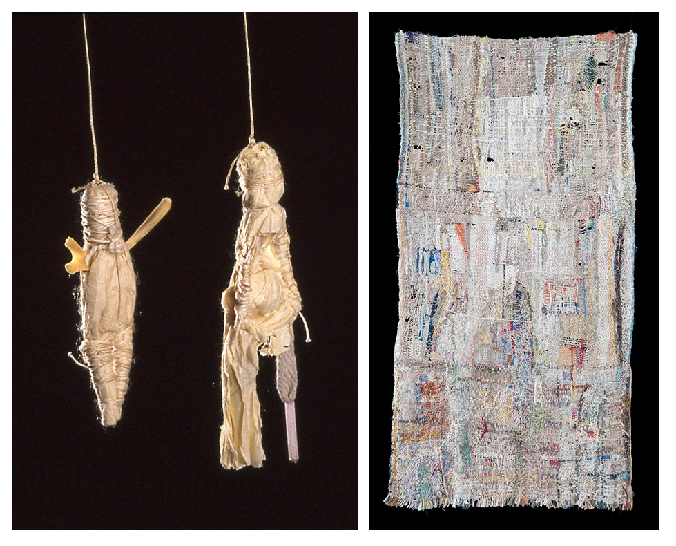 6. Tragic Figures Series: Smiley and Lucky, approx. 3 in x 2 in, 1991. Mixed media. 7. Granite Lace, 24½ in  x 12½ in, 2007, photo: Brennan Studios. Improvisational tapestry techniques. Natural and synthetic threads, silk ribbon.