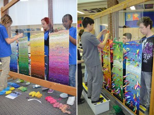 """Each student in the school weaves The Vision Weave Project"" 2012. photograph: Moon Rain Centre Four tapestry banners were collectively woven by all the students in the school. Each student also wrote a vision for the future onto a ribbon and interwove it into one of the tapestry banners. The Vision Weave Project banners are now permanently installed in the school."