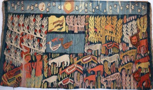 Adam & Eve, weaver: Mariam Hermina, 1961, 1.22 x 2.55 m. flax warp, wool weft. Collection of RWWAC - Egypt