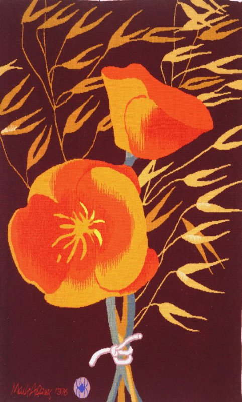 "Mark Adams, ""California Poppies,"" 1976, 54 1/2 x 33 7/8 in"