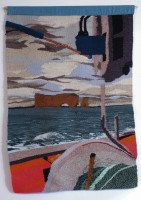 """""""L'anse aux Basques/Boat tapestry"""" (2014), 36"""" x 60"""""""