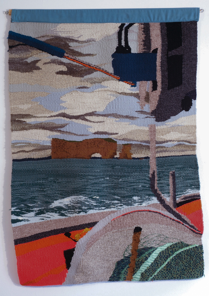 """L'anse aux Basques/Boat tapestry"" (2014), 36"" x 60"""