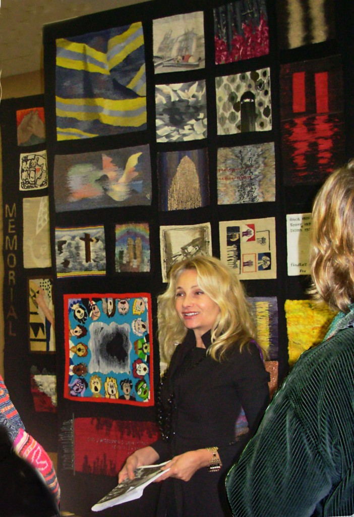 Monique Lehman with the 911 tapestry project