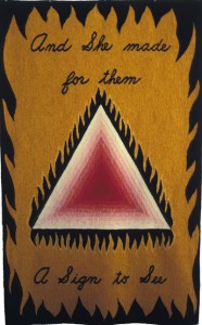 "Judy Chicago, ""Dinner Party Banner,"" 60"" x 3"", 1977, woven by the San Francisco Tapestry Workshop"
