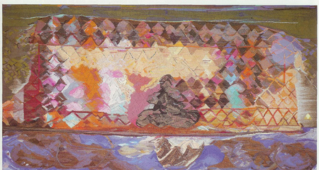 """Ann Newdigate Mills, """"Nomad Trying to Capture Happiness,"""" 49"""" x 88"""", 1985"""