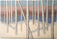 "Elizabeth Shoeman, ""Birches in the Snow"" (2015), 25"" x 17"""