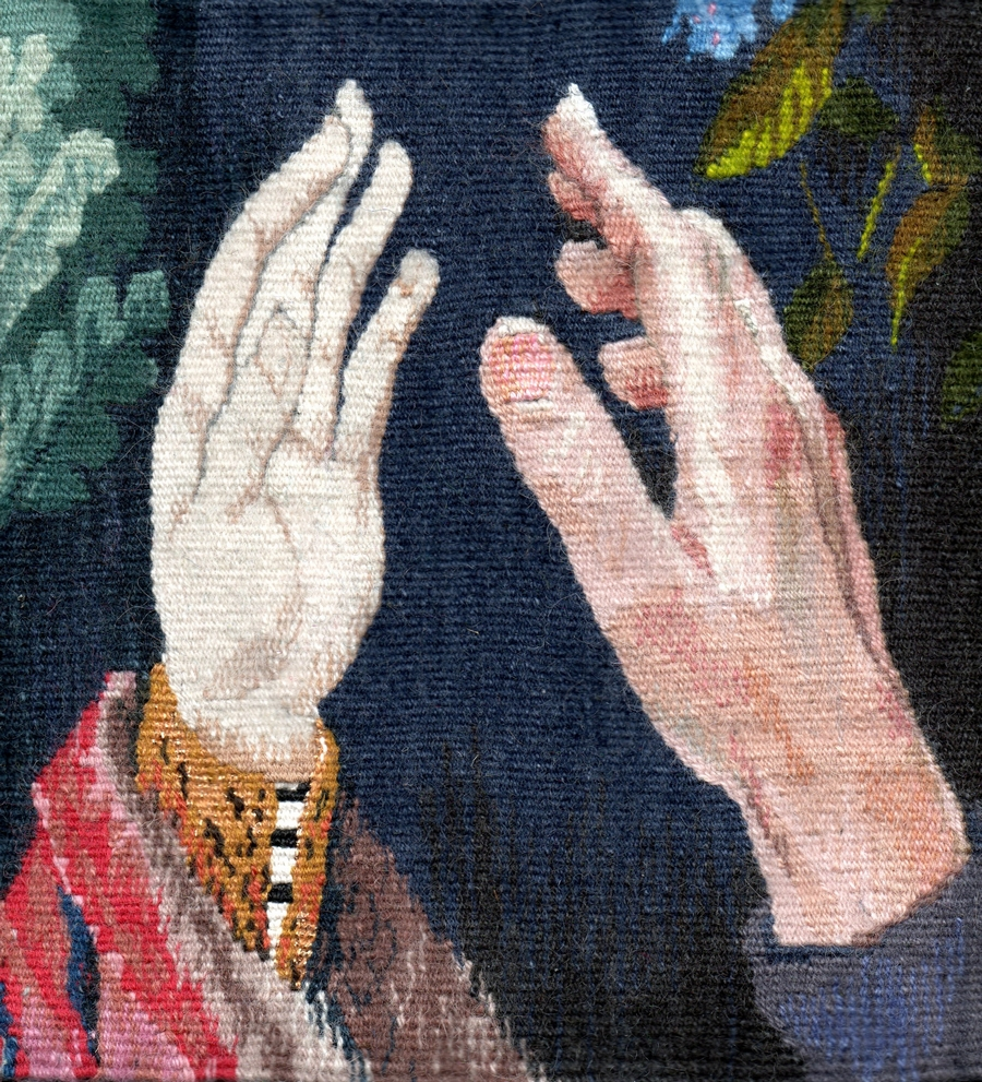 """Cecilia Blomberg, """"Hand to Hand"""" (2009), 9"""" x 9""""; $1250"""