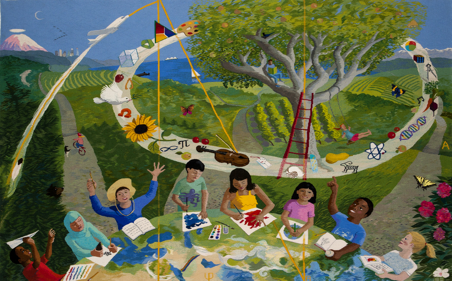 """Cecilia Blomberg, """"McMicken Heights Elementary Tapestry"""" (2012), 60"""" x 96""""; $21,000"""