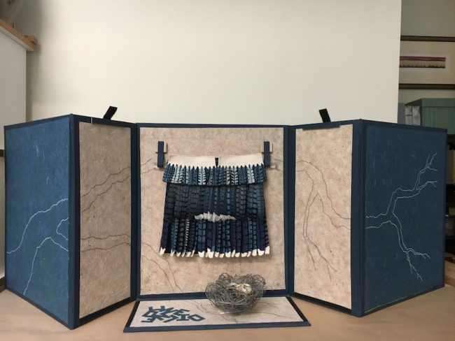 "Susan Martin-Maffei, ""Pandora Box-Blue Jay- On Decline"" (2018), closed box 17"" x 15"" x 8"""