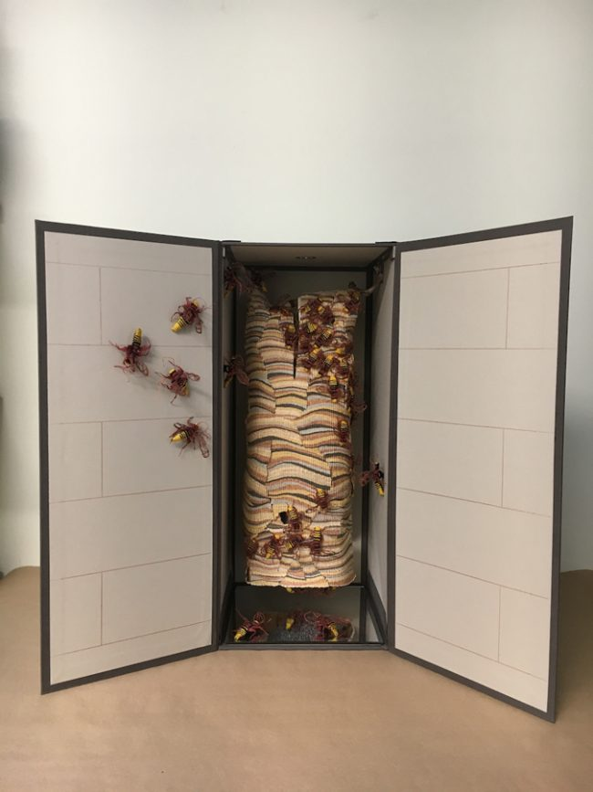 "Susan Martin-Maffei, ""Pandora Box-European Hornet-Invasive Species"" (2018), closed box 24"" x 10"" x 10"""