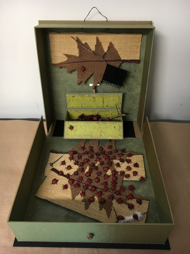"Susan Martin-Maffei, ""Pandora Box-9 Spot Lady Bug-disappearing"" (2018), closed box 14"" x 14"" x 4"""
