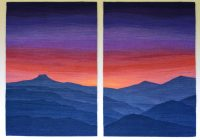 "Sarah Warren, ""Blue Mt Sunset Diptych"" (2017), 23"" x 34"" each panel"