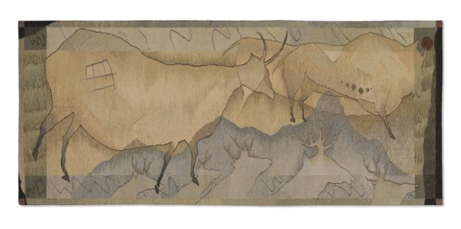 """Julia Mitchell, """"Cave Weaving 3"""" (2016), 42"""" x 96""""; Private Collection"""