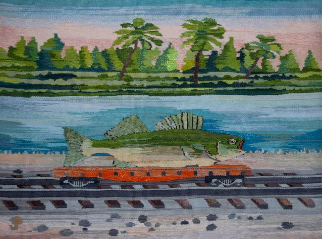 "Suzanne Pretty, ""Fish Train"" (2018), 21.5"" x 28.5"""
