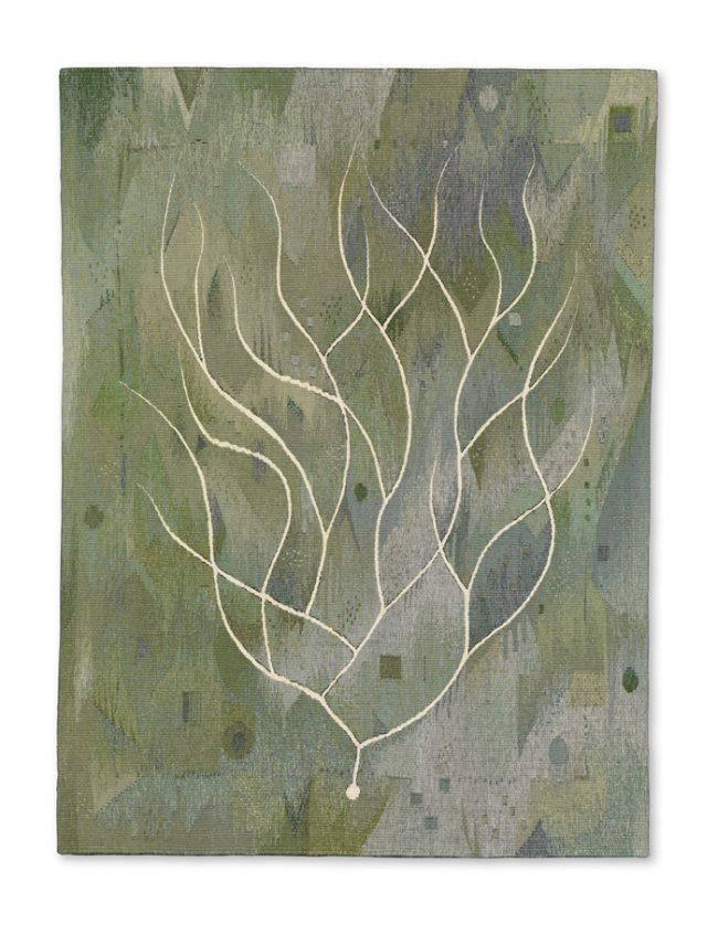 """Julia Mitchell, """"Green Seaweed"""" (2016), 48"""" x 36""""; Private Collection"""