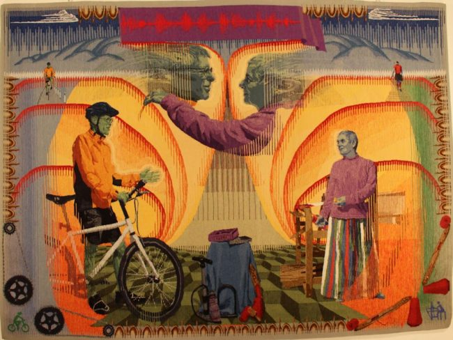 "David R. Mooney, ""Vertumnus Appears before Pomona in the Guise of a Cyclist"" (2018), 60"" x 81"""