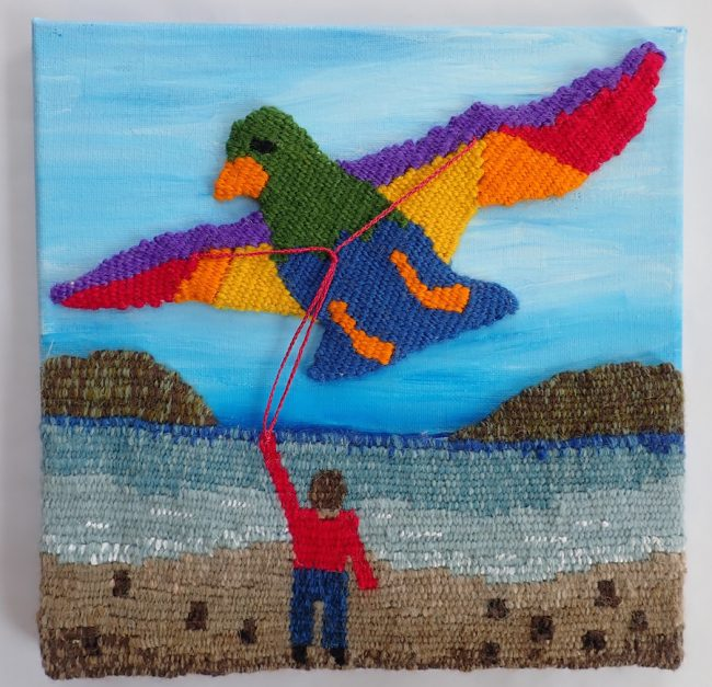 "Christine Rivers, ""Biggest Little Bird Kite"" (2017), 10"" x 10"""